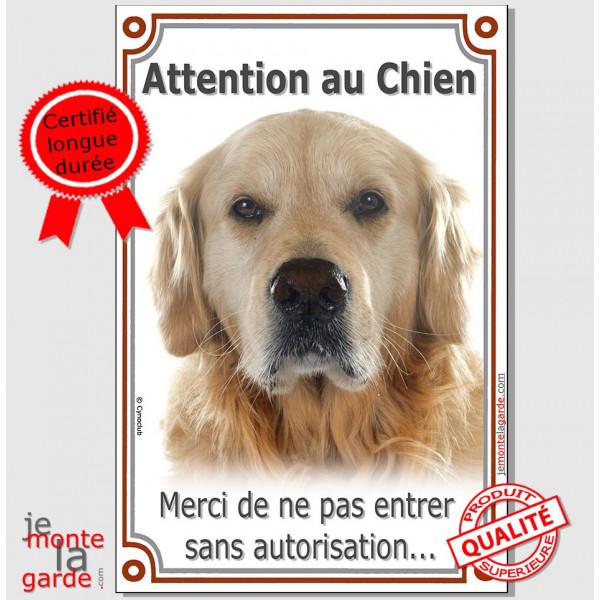 """Golden Retriever, Plaque Portail verticale """"Attention au Chien, interdit sans autorisation"""" pancarte, affiche panneau retriver"""