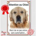"""Golden Retriever, plaque verticale """"Attention au Chien"""" 24 cm"""