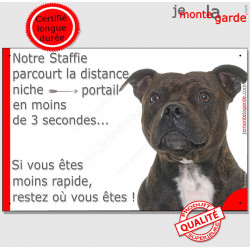 """Staffie bringé Tête, plaque humour """"parcourt distance Niche - Portail en 3 secondes, moins rapide""""  pancarte panneau drôle photo"""