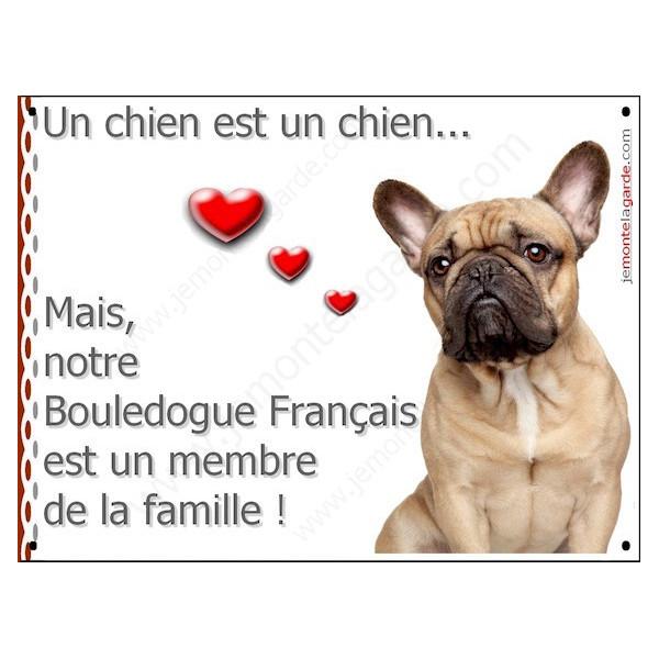 Plaque 16 cm LOVE, Membre de la Famille, Bouledogue Français Fauve