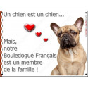Plaque 16 cm LOVE Membre de la Famille, Bouledogue Français Fauve