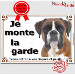 """Boxer Fauve marron Tête, plaque portail """"Je Monte la Garde, risques et périls"""" pancarte panneau orange photo"""