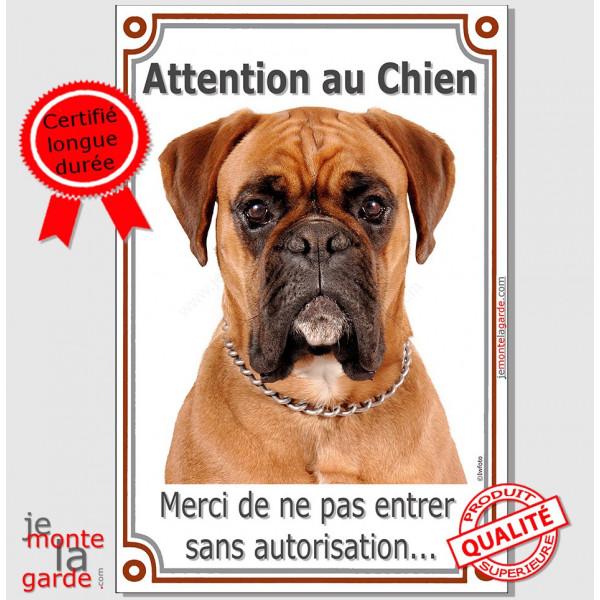 """Boxer Fauve tête, Plaque portail verticale """"Attention au Chien, interdit sans autorisation"""" affiche panneau pancarte photo race"""