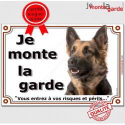 Berger Allemand Poils Longs, Panneau Portail je monte la garde, affiche plaque pancarte, attention au chien, risques périls