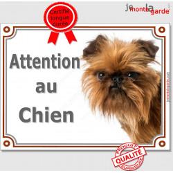 """Griffon Bruxellois tête, plaque portail """"Attention au Chien"""" pancarte panneau affiche photo race"""