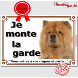 """Chow-Chow Tête, plaque """"Je Monte la Garde"""" 2 tailles LUXE B"""