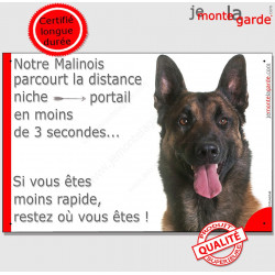 Plaque humour 24 cm Berger Belge Malinois tête parcourt Distance Niche - Portail moins 3 secondes pancarte attention au chien