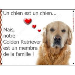 Plaque 2 Tailles LOVE Membre de la Famille, Golden Retriever Tête