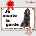 """Setter Gordon assis, plaque """"Je Monte la Garde"""" 3 tailles LUX B"""