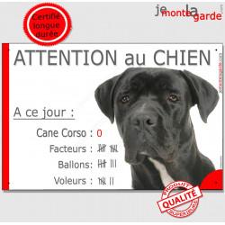Cane Corso Noir Tête Pancarte Portail drôle plaque marrant A ce jour : nombre de Facteurs, Voleurs, Ballons ! attention au chien