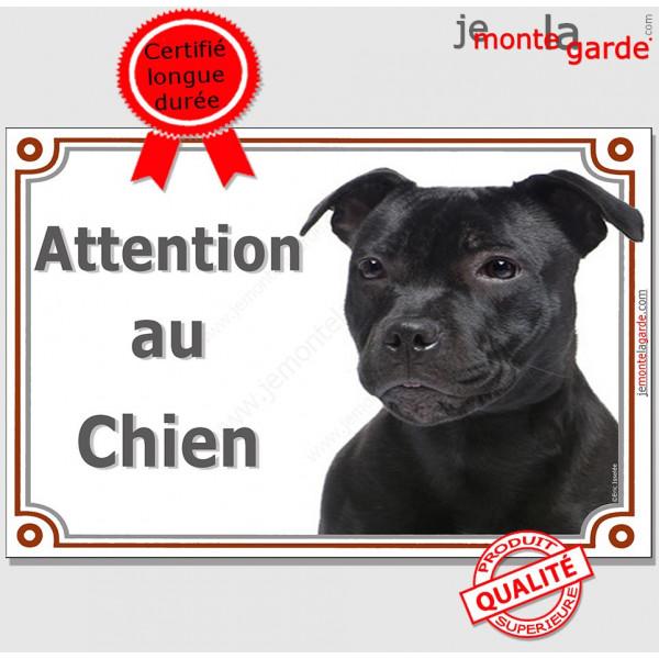 Plaque portail Attention au Chien, Staffie noir Tête, pancarte panneau Staffy photo