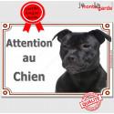 """Staffie noir, plaque """"Attention au Chien"""" 2 tailles LUX C"""