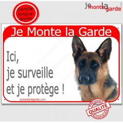 "Berger Allemand Tête, plaque rouge ""Je Monte la Garde"" 2 Tailles RED A"