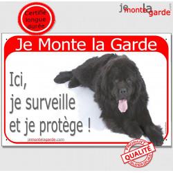 """Terre Neuve Noir, plaque rouge """"Je Monte la Garde"""" 2 Tailles RED A"""
