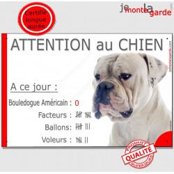 """Bouledogue USA Blanc, plaque """"Nombre de Voleurs, ballons, facteurs"""" 24 cm"""