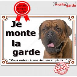 """Dogue de Bordeaux Tête, plaque """"Je Monte la Garde"""" 2 tailles LUX B"""
