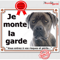 """Cane Corso gris, plaque portail """"Je Monte la Garde, risques et périls"""" pancarte panneau photo attention au chien"""