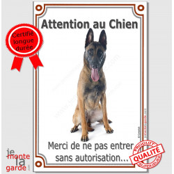"Berger Belge Malinois Assis, Plaque Portail ""Attention au Chien, interdit sans autorisation"" verticale pancarte panneau photo"