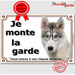 """Husky Gris Blanc Tête, plaque """"Je Monte la Garde"""" 2 tailles LUX B"""