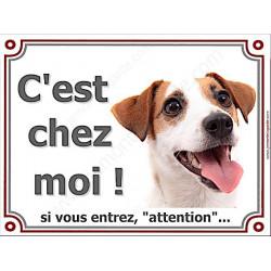 Jack Russell Blanc et fauve Tête, Plaque portail C'est Chez Moi ! panneau affiche pancarte, attention chien