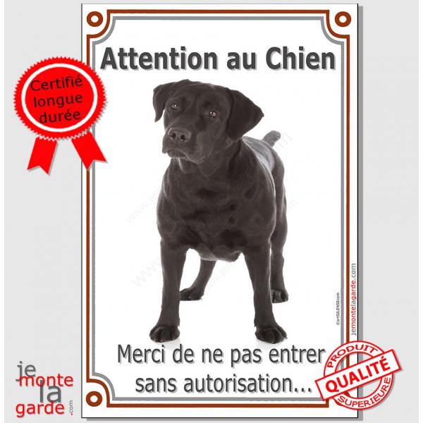 """Labrador Noir, Plaque Portail Verticale """"Attention au chien, interdit sans autorisation"""" pancarte affiche panneau photo"""