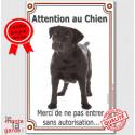"""Labrador Noir, plaque """"Attention au Chien"""" 24 cm VLC"""