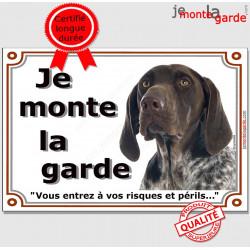 Braque Allemand tête, Plaque Portail Je Monte la Garde, pancarte panneau affiche, risques et périls attention au chien photo