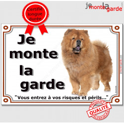 Chow-Chow Fauve, Plaque Portail Je Monte La Garde, pancarte affiche panneau orange, risques périls attention au chien photo
