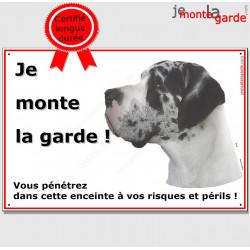 "Danois Arlequin, plaque "" Je Monte la Garde"" 2 tailles ECO"