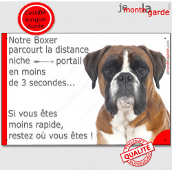 Boxer Fauve tête, Plaque drôle Portail distance niche-portail 3 secondes, pancarte humour, affiche panneau marrant