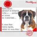 """Boxer Fauve, plaque """"distance Niche - Portail"""" 24 cm 3SEC"""