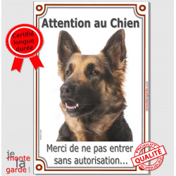 "Berger Allemand poils mi-longs tête, plaque portail verticale ""Attention au Chien, interdit sans autorisation"" photo"