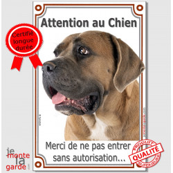 "Cane Corso fauve Tête, plaque verticale ""Attention au Chien"" 24 cm VLUX A"