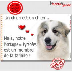 """Montagne des Pyrénées Tête, plaque photo """"Un chien est Membre de la Famille"""" 24 cm dedans ou dehors pancarte panneau affiche"""