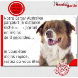Berger Australien Tricolore rouge, Plaque Portail humoristique, pancarte affiche panneau drôle, parcourt distance niche photo