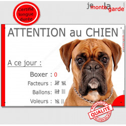 Boxer Fauve tête, Pancarte Portail drôle plaque panneau marrant pancarte, nombre de Facteurs, Voleurs, Ballons ! humour photo