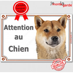 "Shiba Inu fauve Tête, plaque portail ""Attention au Chien"" pancarte panneau orange marron photo"