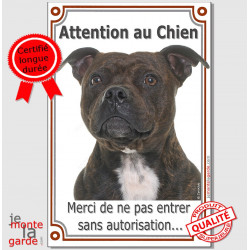 "Staffie bringé, plaque verticale ""Attention au Chien"" 24 cm VL-A"