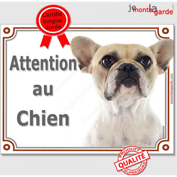 """Bouledogue Français Caille Fauve Tête, Plaque portail """"Attention au Chien"""" panneau affiche pancarte photo"""
