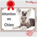 """Chien Chinois à Crête, plaque """"Attention au Chien"""" 3 tailles C"""