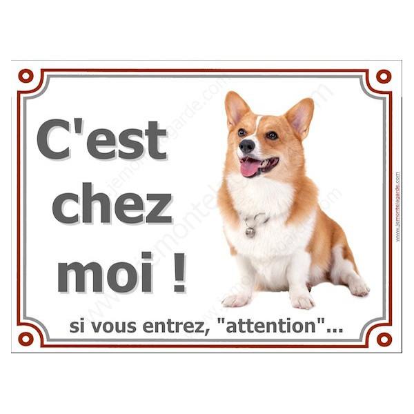 """Welsh Corgi Assis, plaque portail """"C'est Chez Moi !"""" 2 tailles Luxe pancarte panneau"""