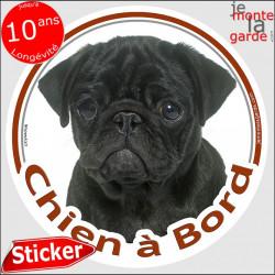 """Carlin Noir, sticker autocollant rond """"Chien à Bord"""" Disque adhésif vitre voiture photo"""