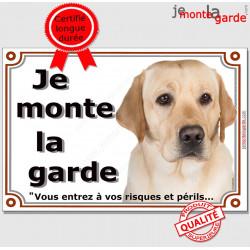 "Labrador Sable Tête, plaque ""Je Monte la Garde"" 3 tailles LUX B"