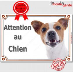 Plaque portail Attention au Chien, Jack Russell Terrier blanc et fauve marron Tête, pancarte panneau photo