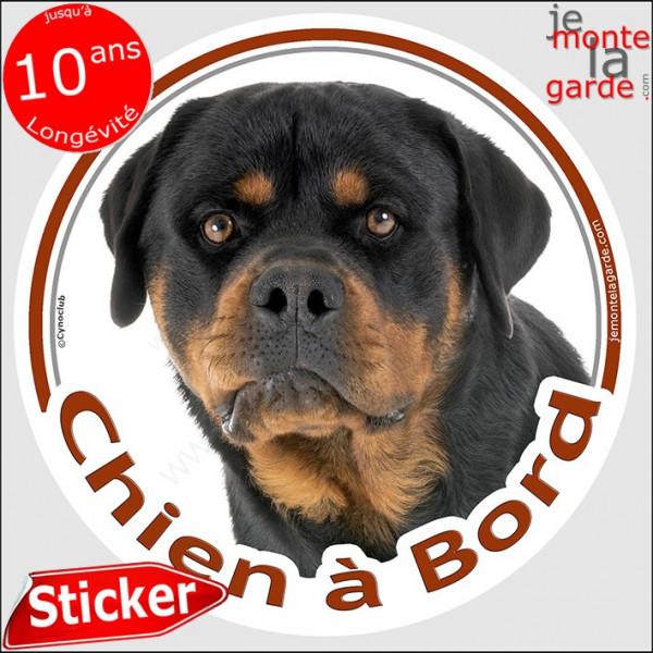 """Rottweiler, sticker autocollant rond """"Chien à Bord"""" 14 cm, adhésif voiture Rott photo race"""