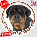 """Rottweiler, sticker autocollant """"Chien à Bord"""" 14 cm"""