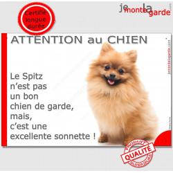 """Plaque """"Attention au Chien, notre Spitz fauve est une sonnette"""" 24 cm RNG"""