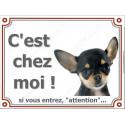 """Chihuahua Noir et Feu poils courts plaque """"C'est Chez Moi !"""" 3 tailles LUXE"""