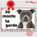 """Am-Staff Bleu bringé, plaque """"Je Monte la Garde"""" 2 tailles LUX B"""