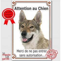 """Chien-Loup Tchèque, plaque """"Attention au Chien, interdit sans autorisation"""" pancarte panneau photo"""
